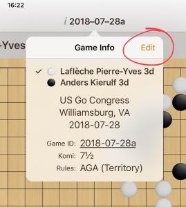 Edit game info